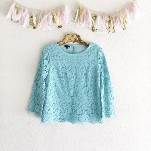 Talbots Rose Lace Turquoise Top